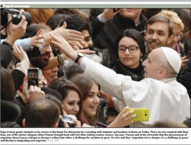 Papa Francesco sul Global Times