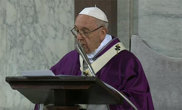 Papa Francesco nella Messa delle Ceneri